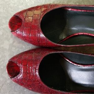 Donald J. Pliner Shoes - Donald J Pliner Couture Red Croc Embossed Heels
